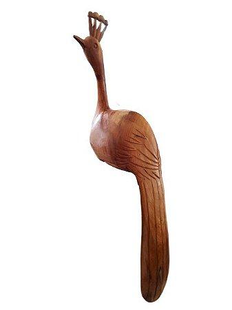 Escultura de Pavão p/ Quina Entalhada na Madeira - Grande 1