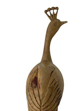 Escultura de Pavão p/ Quina Entalhada na Madeira Olhar Direita