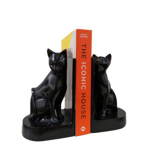 Porta Livros Gatos Pretos de Alumínio Fundido
