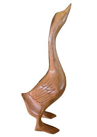 Escultura Ganso Em Madeira - Pequeno