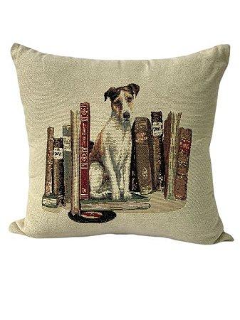 Capa de Almofada com Estampa Cachorro e Livros - Sem Enchimento