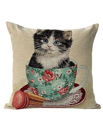 Capa de Almofada com Estampa de Gatinho - Sem Enchimento