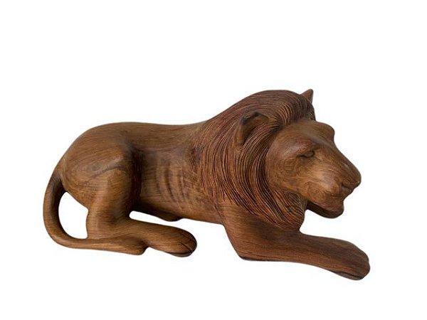 Escultura Leão em Madeira Entalhada Decorativo Claro