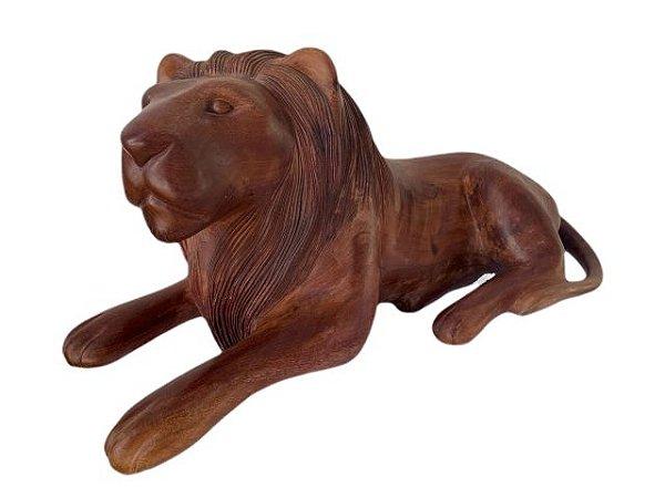 Escultura Leão em Madeira Entalhada Decorativo Esquerda