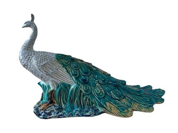 Escultura Pavão de Porcelana Pintada a Mão