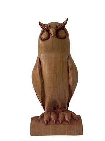 Escultura Coruja de Madeira Decorativa Grande