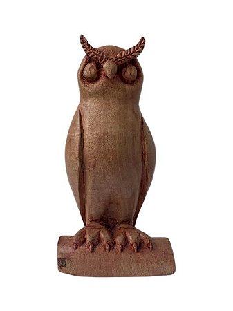 Escultura Coruja de Madeira Decorativa Média