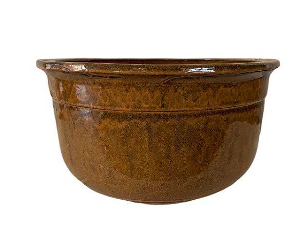 Vaso de Cerâmica Vietnamita Marrom Baixo