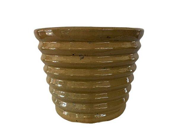 Vaso de Cerâmica Vietnamita Sanfonado Beje