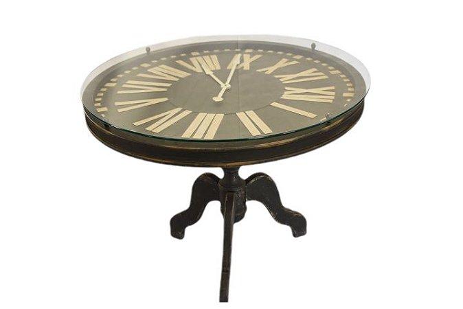 Mesa Lateral com Relógio de MDF e Vidro