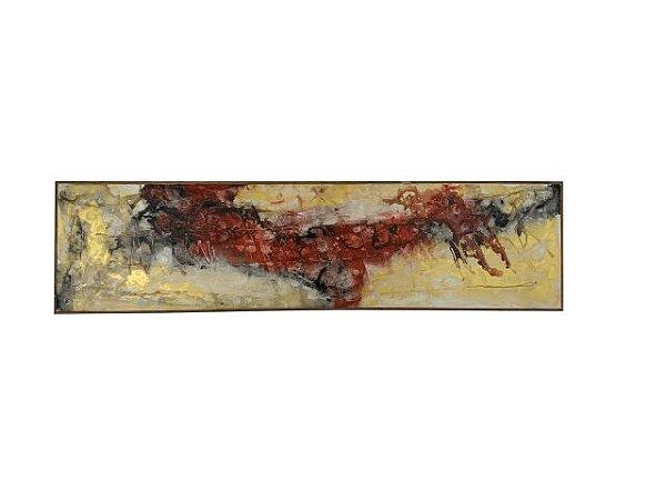 Quadro Abstrato Colorido 0,50m X 2,00m - Acrílico Sobre Tela V