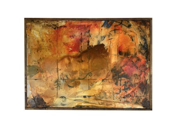Quadro Abstrato com Moldura 0,54m X 0,73m - Acrílico Sobre Tela
