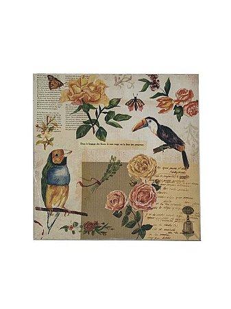Quadro Pássaros e Flores 0,50m X 0,50m - Tela Impressa