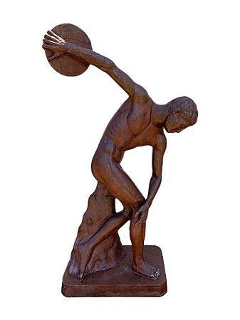 Escultura O Discóbolo do Grego Lançador de Disco em Ferro Fundido