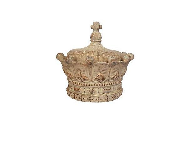 Porta Objetos Coroa Patinada em Resina