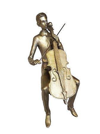 Escultura Violinista de Quina Prateada em Resina