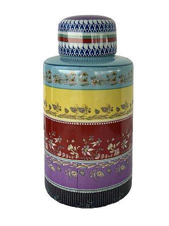 Pote Decorativo com Tampa em Cerâmica Médio