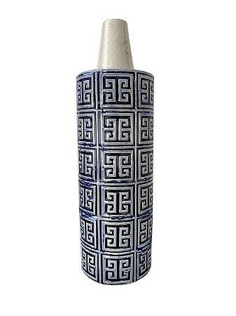 Jarro Centro de Mesa Inca em Cerâmica Azul e Branco