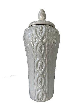 Pote Decorativo em Cerâmica Branco Alto com Tampa