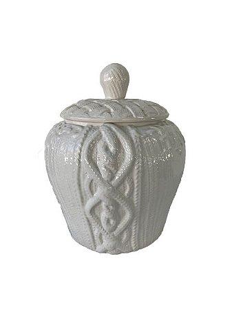 Pote Decorativo em Cerâmica Branco com Tampa
