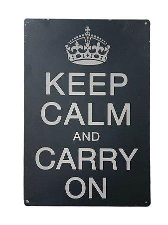 Placa Decorativa Preta Keep Calm