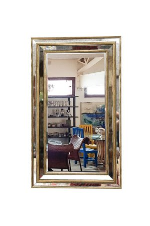 Espelho de Cristal Bisotado com Detalhes Folheado a Ouro