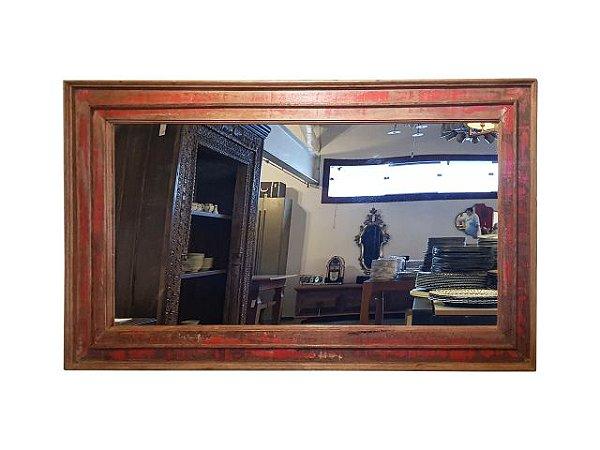 Espelho Retangular Grande Patinado Vermelho em Madeira de Demolição