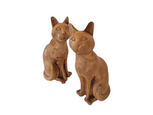 Conjunto com 2 Esculturas Gatos de Madeira Decorativo
