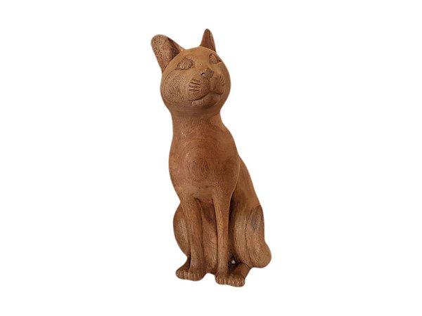 Escultura Gato de Madeira Decorativo Olhar Esquerda
