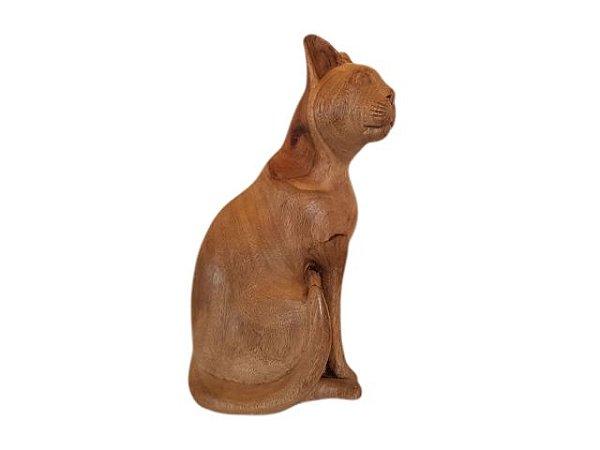 Escultura Gato de Madeira Decorativo Olhar Direita