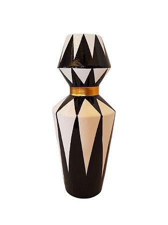 Jarro Vaso de Cerâmica Preto Branco Geométrico