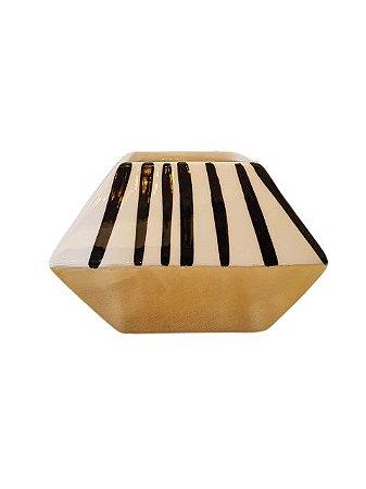Jarro Vasinho de Cerâmica Retangular Listrado Pequeno