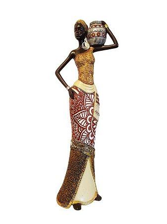 Escultura Mulher Africana com Pote em Resina