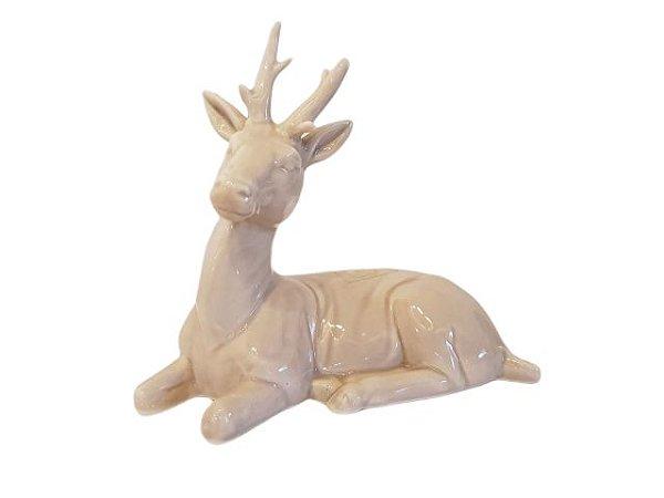 Escultura Veado Alce de Porcelana Médio