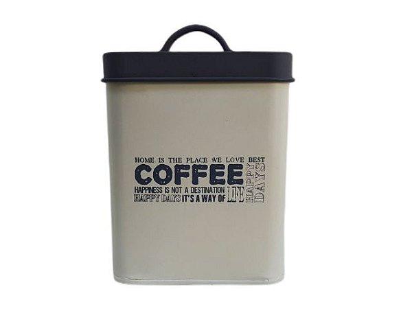 Pote Decorativo com Tampa Quadrado Coffee