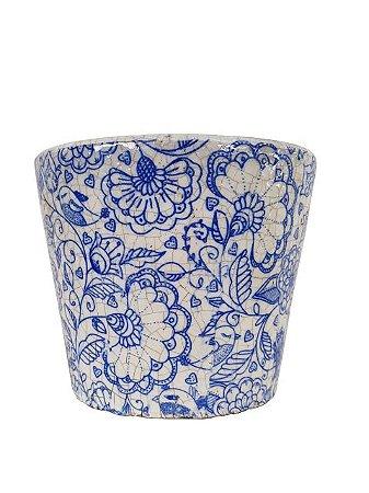 Vaso para Suculenta Cachepô Floral Vitrificado - ARTESANAL