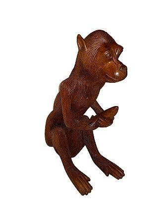 Escultura Macaco de Madeira Massaranduba