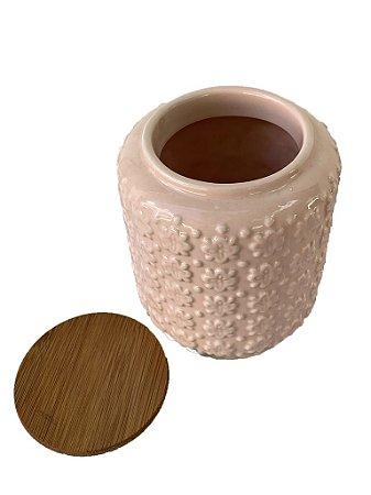 Pote Rosa em Cerâmica com Tampa Pequeno