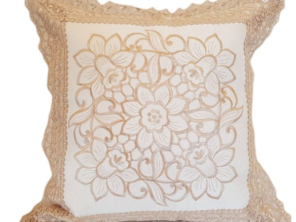 Capa de Almofada Bordada 100% Polyester 5 Flores Sem Ench.
