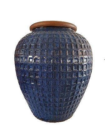 Vaso de Cerâmica Vietnamita Azul C/ Desenho Geom. Alto Relevo G
