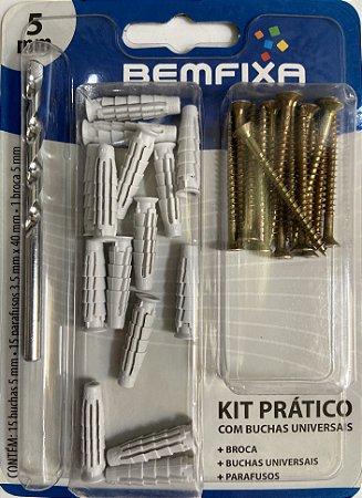 KIT BEMFIXA 5 MM (Buchas Universais, Parafusos e Broca)