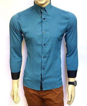 Camisa Social Slim Fit Azul Oceano Masculina