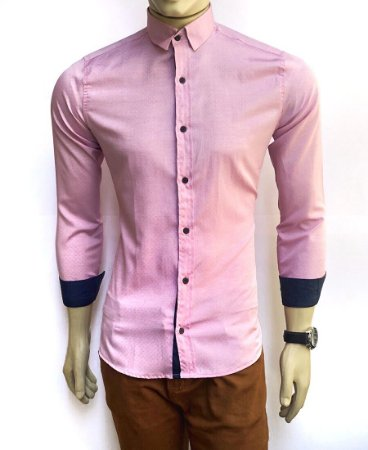 Camisa Social Slim Fit Rosa Masculina