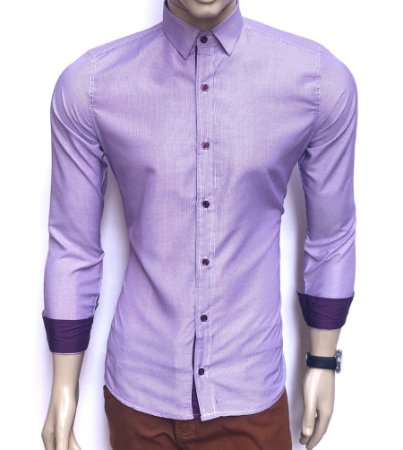 Camisa Social Slim Fit Roxa Masculina