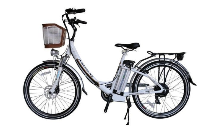Bicicleta Elétrica Aro 26 - July Magias C/ Bateria De Lítio - Branca