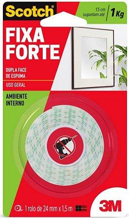 Fita Dupla Face Fixa Forte Espuma 24mm x 1,5m Uso Interno Scotch 3M