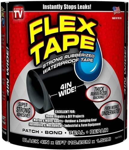 Fita Flexível Flex Tape Black 10cm X 150cm - Preto