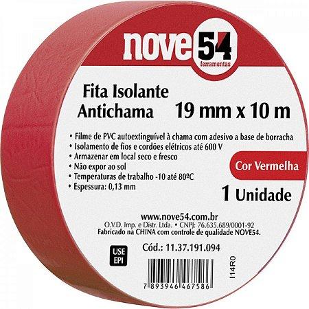 Fita Isolante Vermelha Nove54 19mm x 10m