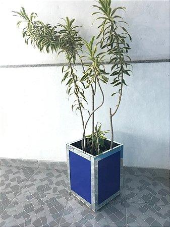 Vaso cachepot Azul C/ detalhe em espelho - F83