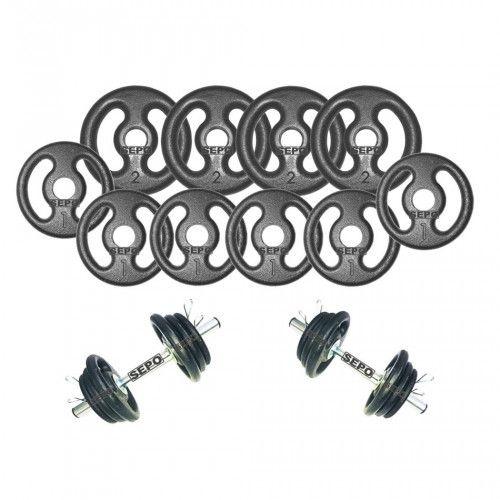 Kit para Halteres Sepo: 2 Barras para Musculação + 4 Presilhas + 10 Anilhas - 14 Kg
